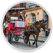 New Orleans - Carriage Ride Round Beach Towel