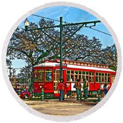New Orleans Streetcar Painted Round Beach Towel