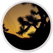 New Photographic Art Print For Sale Joshua Tree At Sunset Round Beach Towel