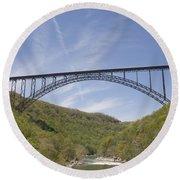New River Gorge Bridge Round Beach Towel