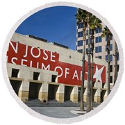 New Wing Of The San Jose Museum Of Art Round Beach Towel