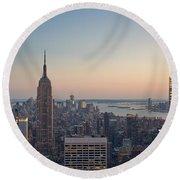 New York City - Empire State Building Round Beach Towel