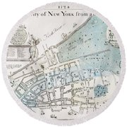 New York City Map, 1728 Round Beach Towel