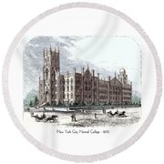 New York City Normal College - 1870 Round Beach Towel