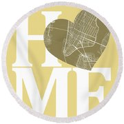 New York Map Home Heart - New York City New Yorkroad Map In A He Round Beach Towel