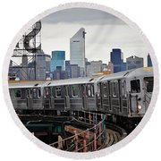 New York Train Round Beach Towel