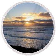 Newport Oregon Sunset Round Beach Towel