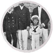 Nicholas II & George V, 1909 Round Beach Towel