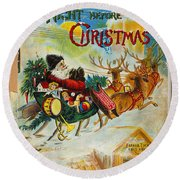Night Before Christmas Round Beach Towel