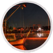 Night In The Harbor Round Beach Towel