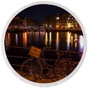 Night Lights On The Amsterdam Canals. Holland Round Beach Towel