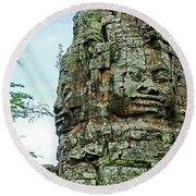 North Gate Of Angkor Thom In Angkor Wat Archeological Park-cambodia Round Beach Towel