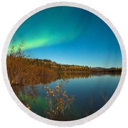 Northern Lights And Fall Colors At Calm Lake Round Beach Towel