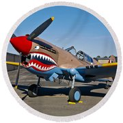 Nose Art On A Curtiss P-40e Warhawk Round Beach Towel