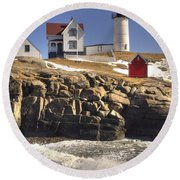 Nubble Lighthouse 3 Round Beach Towel by Joann Vitali