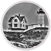 Nubble Lighthouse Cape Neddick Maine Round Beach Towel by Glenn Gordon