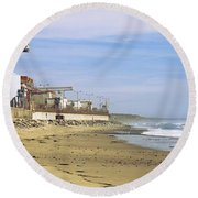 Nuclear Power Plant On The Beach, San Round Beach Towel