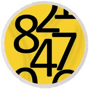 Numbers In Black And Yellow Round Beach Towel