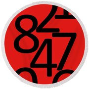 Numbers In Red And Black Round Beach Towel