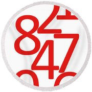 Numbers In Red And White Round Beach Towel
