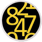 Numbers In Yellow And Black Round Beach Towel