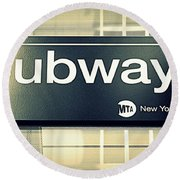 Nyc Subway Sign Round Beach Towel