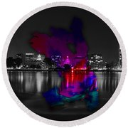Oakland Map And Skyline Watercolor Round Beach Towel