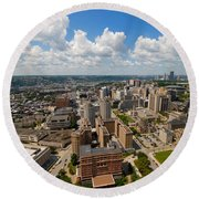 Oakland Pitt Campus With City Of Pittsburgh In The Distance Round Beach Towel