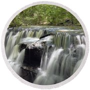 Odom Creek Waterfall Georgia Round Beach Towel
