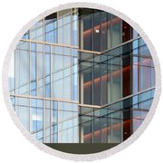 Office Building Windows Round Beach Towel