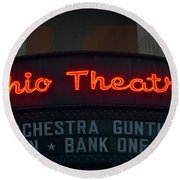 Ohio Theater Marquee Theater Sign Round Beach Towel