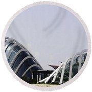 Oil Painting - Both Of The Conservatories Of The Gardens By The Bay In Singapore Round Beach Towel