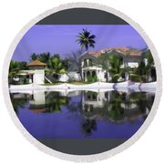 Oil Painting - Cottages And Lagoon Water In Alleppey Round Beach Towel