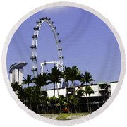 Oil Painting - Preparation Of Formula One Race With Singapore Flyer And Marina Bay Sands Round Beach Towel