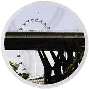 Oil Painting - Span Of The Benjamin Sheares Bridge With Its Pillars In Singapor Round Beach Towel