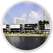 Oil Painting - View Of The Preparation For The Formula One Race In Singapore Round Beach Towel