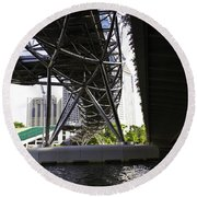 Oil Painting - View Under The Bayfront Bridge And Helix Bridge In Singapore Round Beach Towel