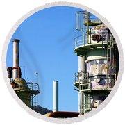 Oil Refinery Round Beach Towel