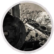 Old Black Locomotive Engine Details Round Beach Towel