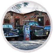 Old Cars On Route 66 Round Beach Towel