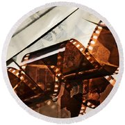Old Film Strip And Photos Background Round Beach Towel by Michal Bednarek