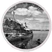 Old Fishing Ship Wreck Round Beach Towel