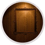 Old Frame On Retro Wall Round Beach Towel