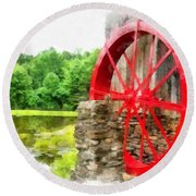 Old Grist Mill Vermont Red Water Wheel Round Beach Towel