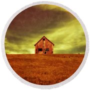 Old House On The Hill Round Beach Towel by Edward Fielding