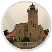 Old Mackinac Point Lighthouse Round Beach Towel