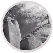 Old Mission Crosses Round Beach Towel