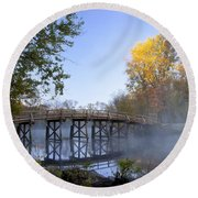 Old North Bridge Concord Round Beach Towel by Brian Jannsen