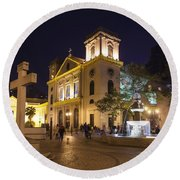 Old Portuguese Colonial Church In Macau Macao China Round Beach Towel