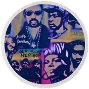 Old School Hip Hop 3 Round Beach Towel